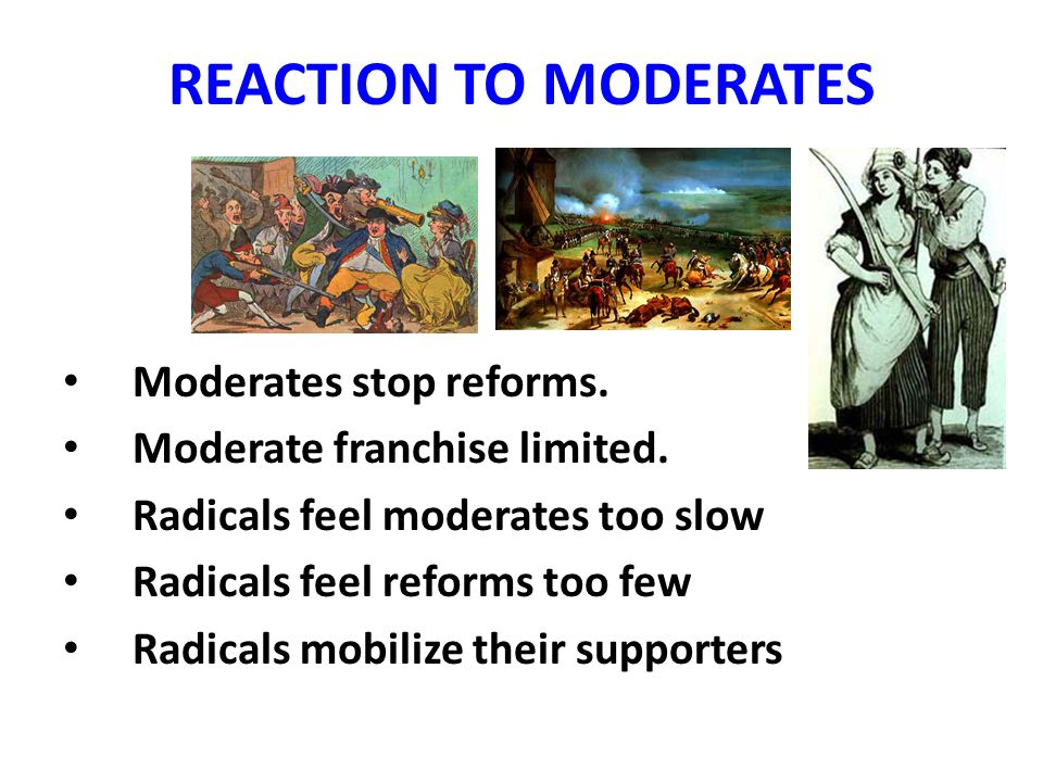 REACTION TO MODERATES Moderates stop reforms. Moderate franchise limited.