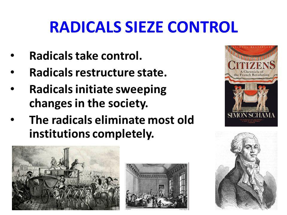 RADICALS SIEZE CONTROL Radicals take control. Radicals restructure state.