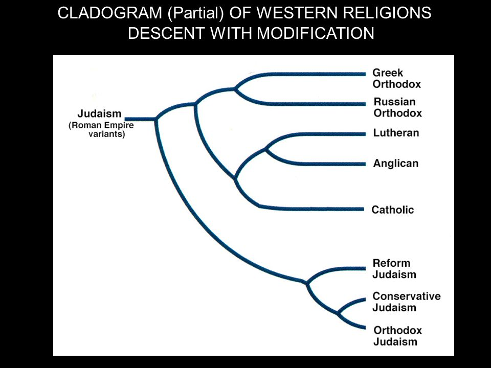 CLADOGRAM (Partial) OF WESTERN RELIGIONS DESCENT WITH MODIFICATION