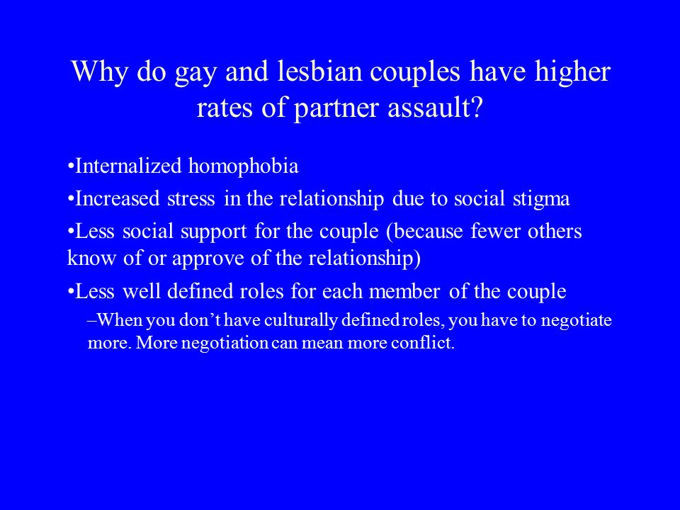 Why do gay and lesbian couples have higher rates of partner assault.