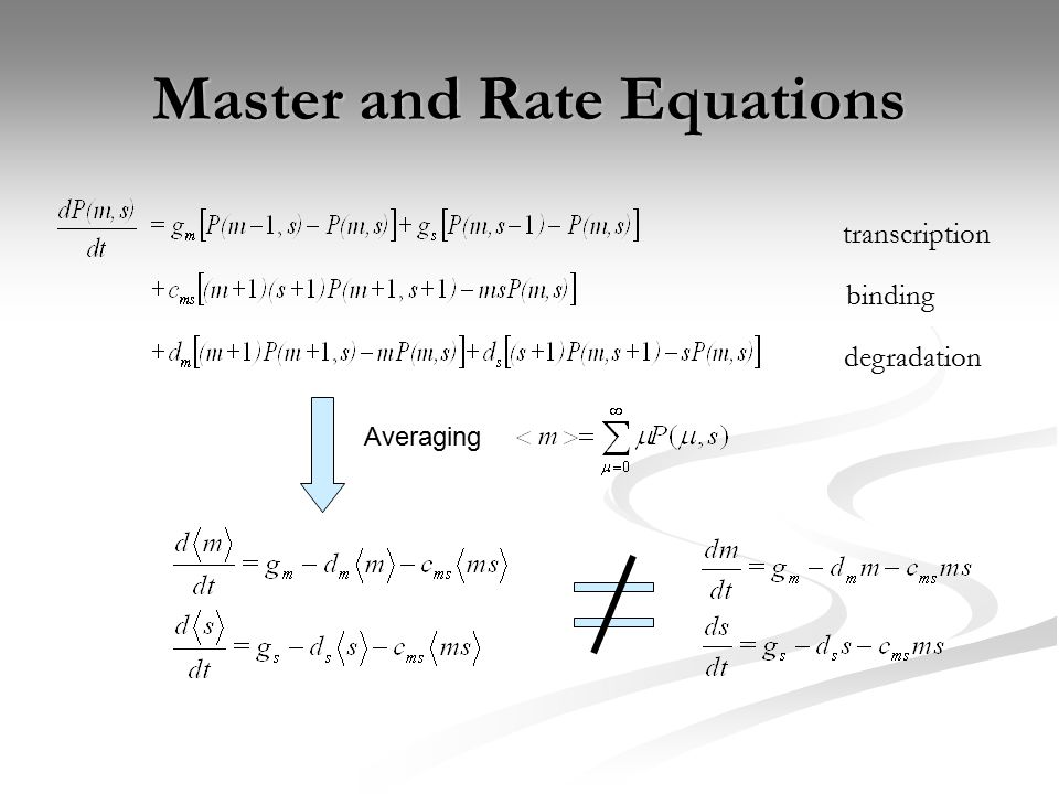 Master and Rate Equations Averaging transcription binding degradation