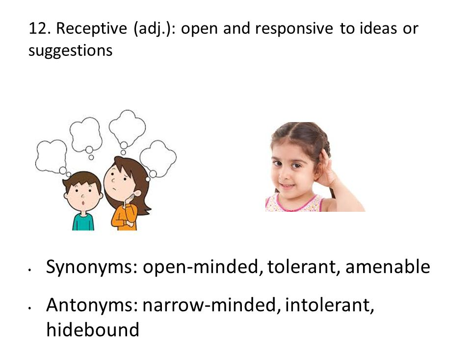 12. Receptive (adj.): open and responsive to ideas or suggestions Synonyms: open-minded, tolerant, amenable Antonyms: narrow-minded, intolerant, hideb