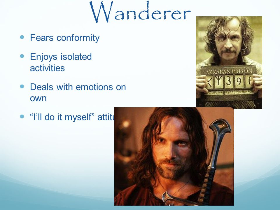 """Wanderer Fears conformity Enjoys isolated activities Deals with emotions on own """"I'll do it myself"""" attitude"""