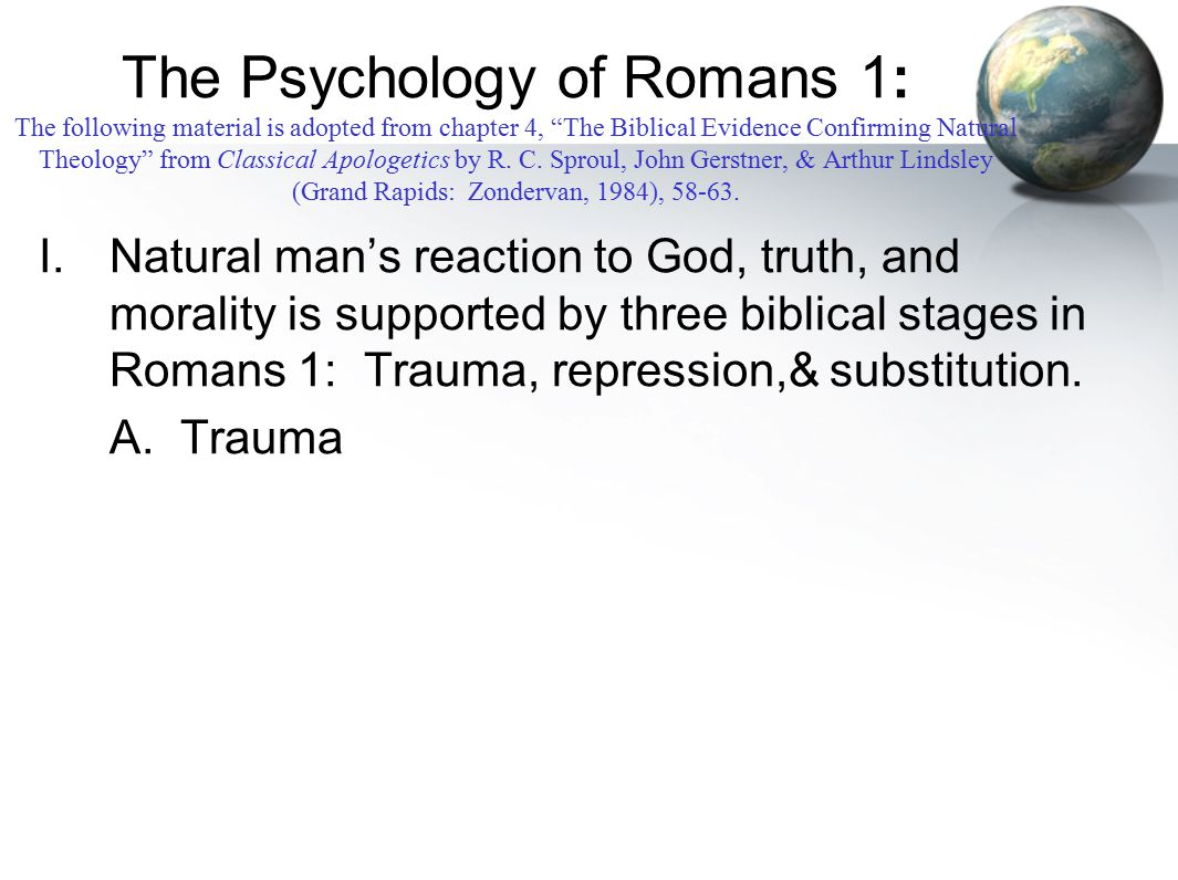 The Psychology of Romans 1: The following material is adopted from chapter 4, The Biblical Evidence Confirming Natural Theology from Classical Apologetics by R.