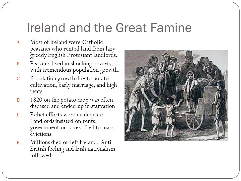 Ireland and the Great Famine A. Most of Ireland were Catholic peasants who rented land from lazy greedy English Protestant landlords. B. Peasants live