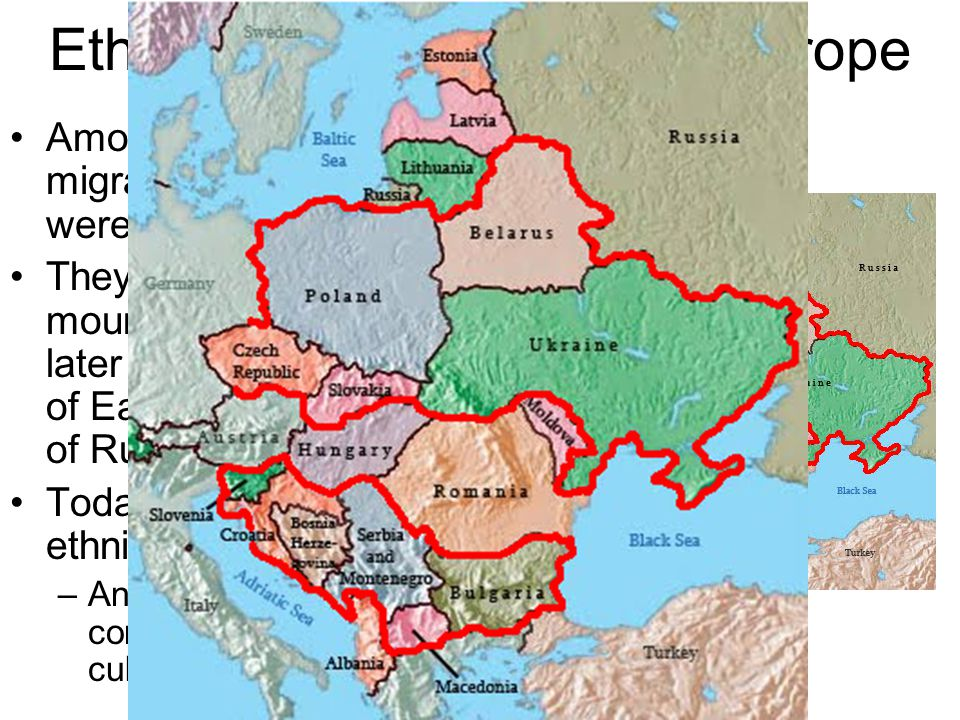 Ethnic Groups of Eastern Europe Among the groups that migrated to Eastern Europe were the Slavs. They first lived in the mountains of Slovakia, but la