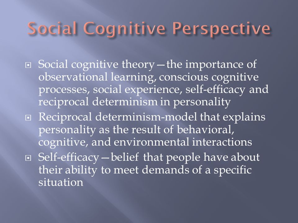  Social cognitive theory—the importance of observational learning, conscious cognitive processes, social experience, self-efficacy and reciprocal det