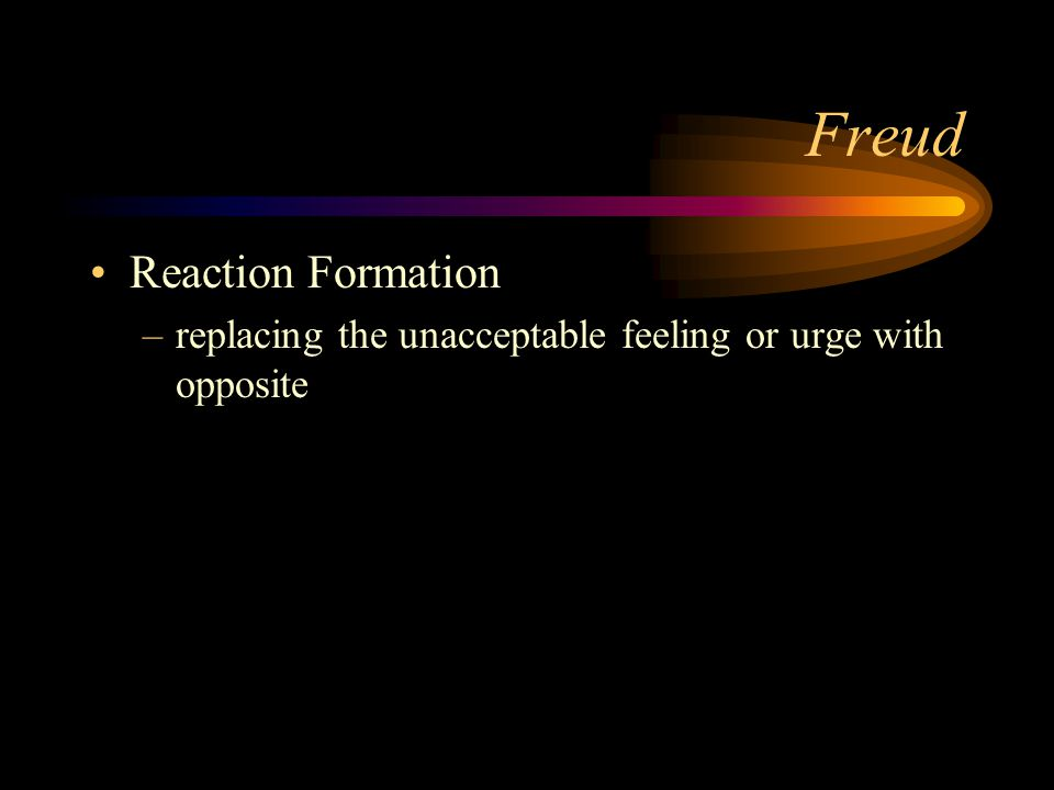 Freud Projection –Ego avoiding internal impulses –Ascribing one's own undesirable attitudes, feelings or thoughts onto others –Inner feelings are thrown outside