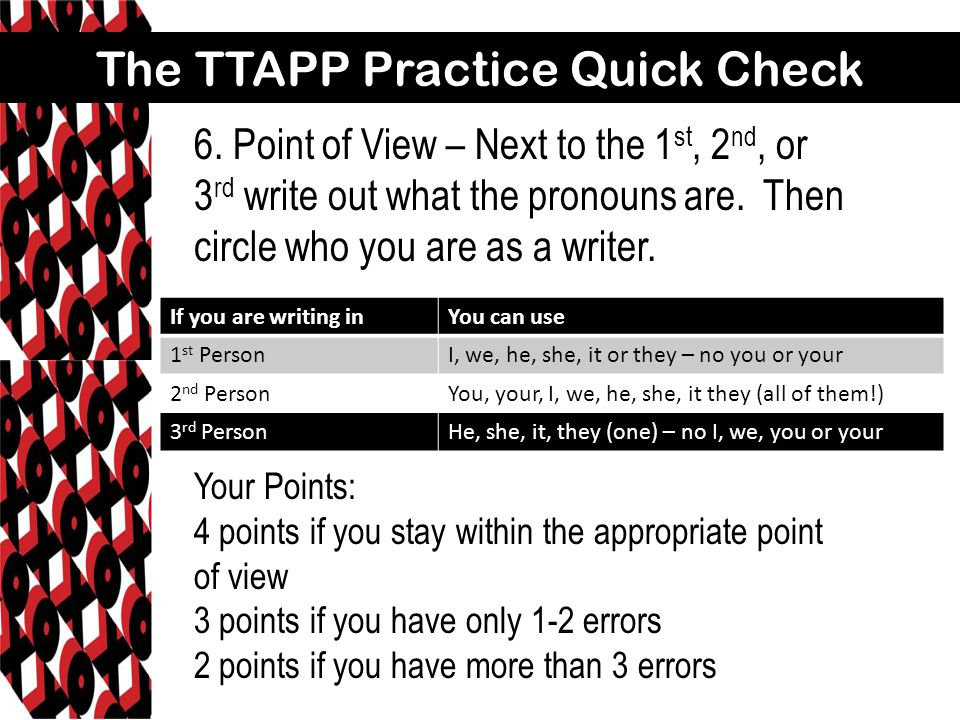 The TTAPP Practice Quick Check 7.Thesis – Circle your topic, and then underline your comment.