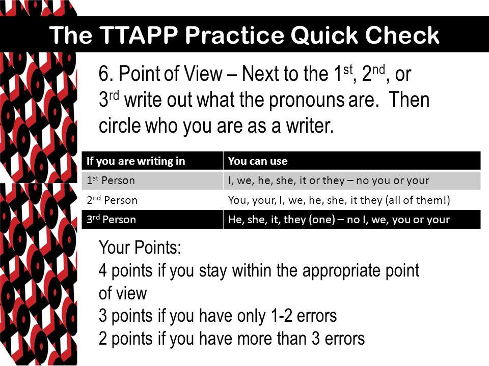 The TTAPP Practice Quick Check 6.