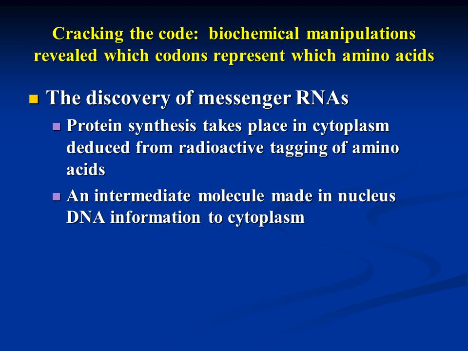 Cracking the code: biochemical manipulations revealed which codons represent which amino acids The discovery of messenger RNAs The discovery of messenger RNAs Protein synthesis takes place in cytoplasm deduced from radioactive tagging of amino acids Protein synthesis takes place in cytoplasm deduced from radioactive tagging of amino acids An intermediate molecule made in nucleus DNA information to cytoplasm An intermediate molecule made in nucleus DNA information to cytoplasm