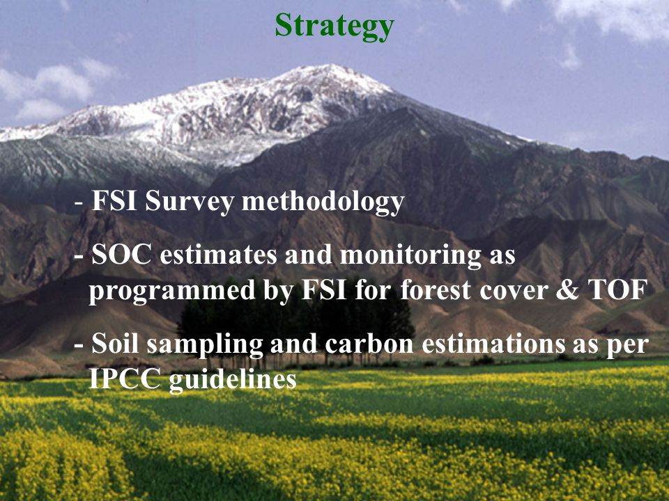 Strategy - FSI Survey methodology - SOC estimates and monitoring as programmed by FSI for forest cover & TOF - Soil sampling and carbon estimations as per IPCC guidelines