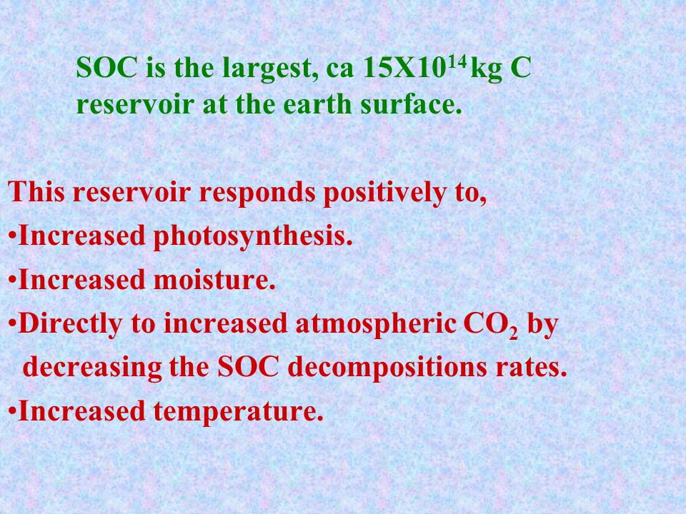 We have ignored SOC because we think it is dead biomass and is directly dependent on the amount of live biomass.