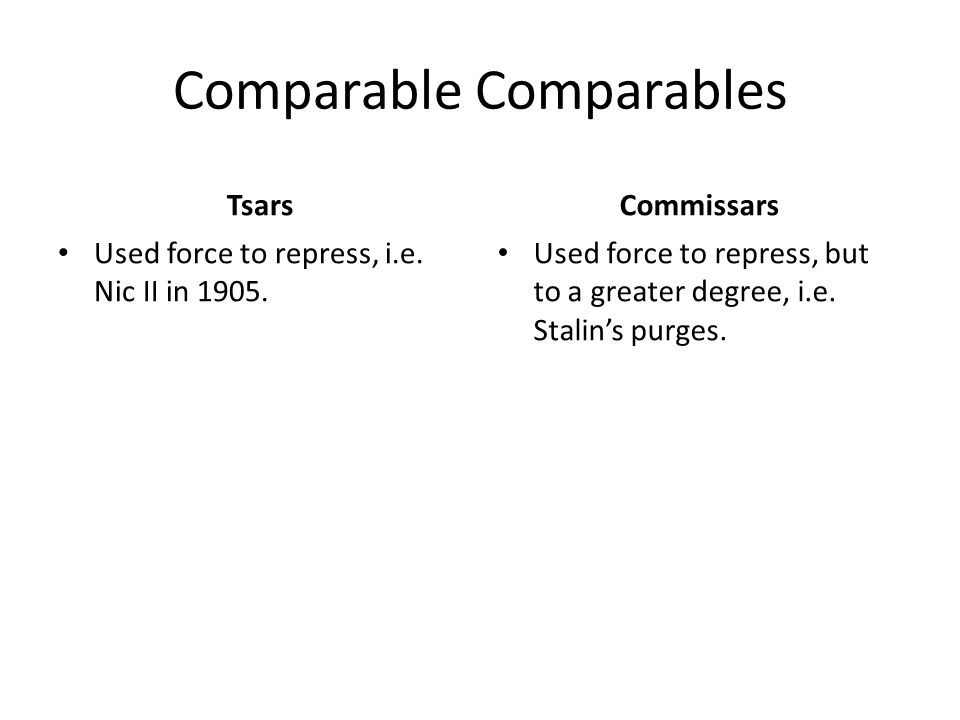Comparable Comparables Tsars Used force to repress, i.e.