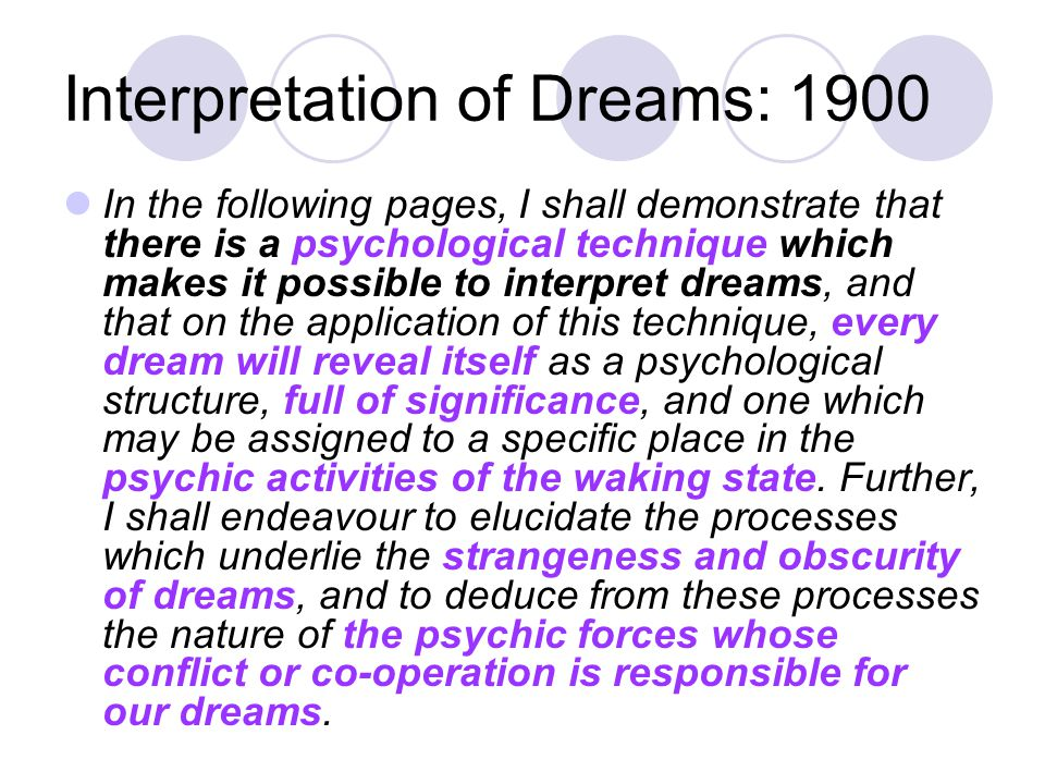 Interpretation of Dreams: 1900 In the following pages, I shall demonstrate that there is a psychological technique which makes it possible to interpret dreams, and that on the application of this technique, every dream will reveal itself as a psychological structure, full of significance, and one which may be assigned to a specific place in the psychic activities of the waking state.