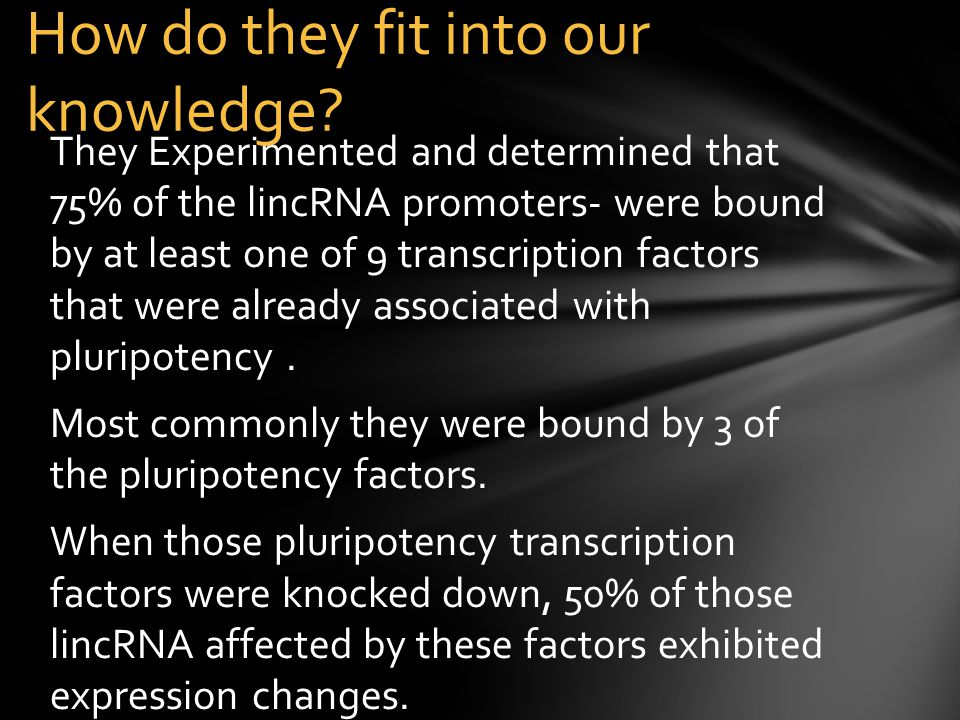 They Experimented and determined that 75% of the lincRNA promoters- were bound by at least one of 9 transcription factors that were already associated with pluripotency.