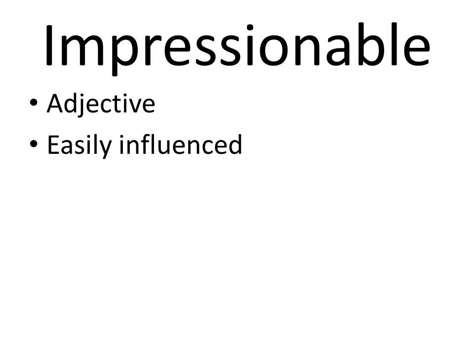 Impressionable Adjective Easily influenced