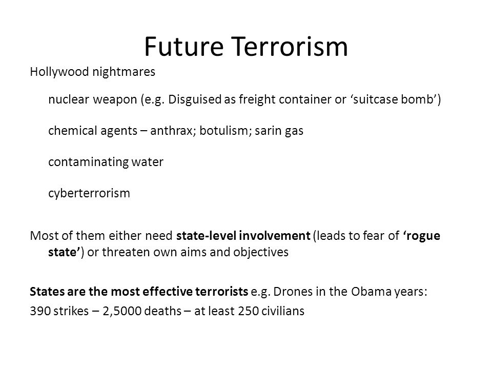 Future Terrorism Hollywood nightmares nuclear weapon (e.g.