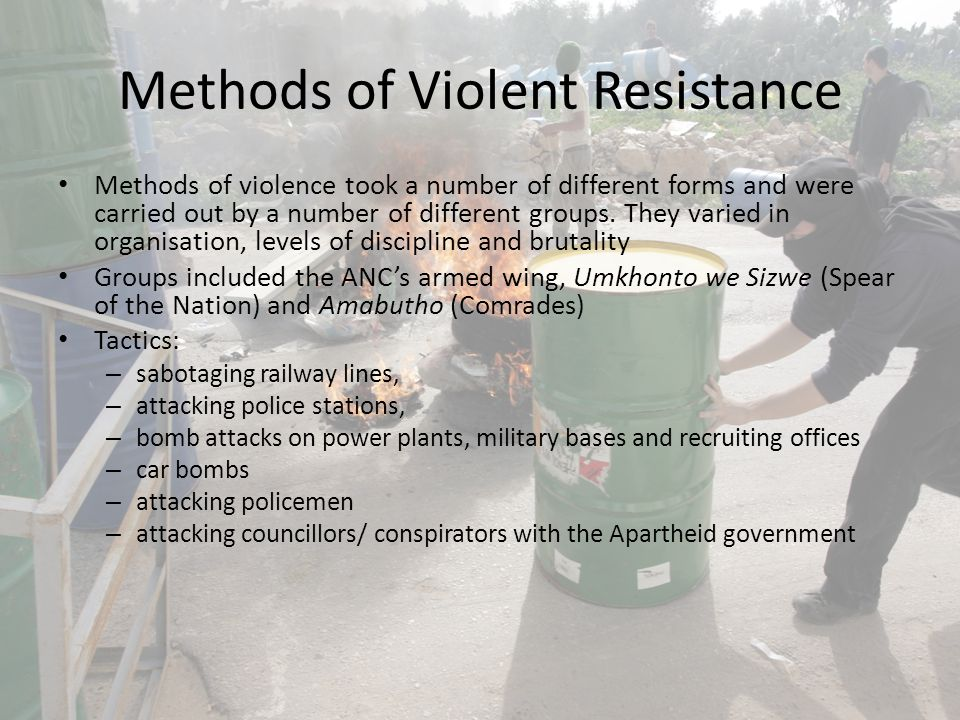 Why violence failed Strength of the South African Army and bodies of civil control The armed movement lacked the adequate resources and numbers to pose a serious threat South Africa's landscape not suitable for guerrilla warfare Rather than attracting support for the cause, it often alienated large numbers of both white and black South Africans