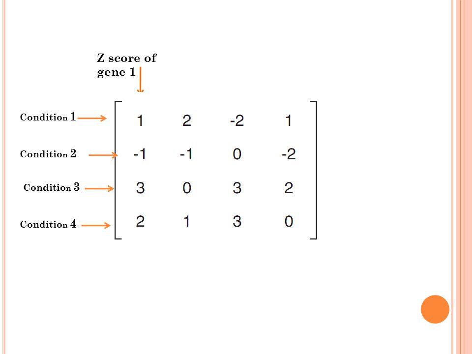 Z score of gene 1 Conditio n 1 Conditio n 2 Conditio n 3 Conditio n 4