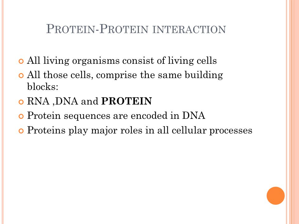 P ROTEIN -P ROTEIN INTERACTION All living organisms consist of living cells All those cells, comprise the same building blocks: RNA,DNA and PROTEIN Protein sequences are encoded in DNA Proteins play major roles in all cellular processes