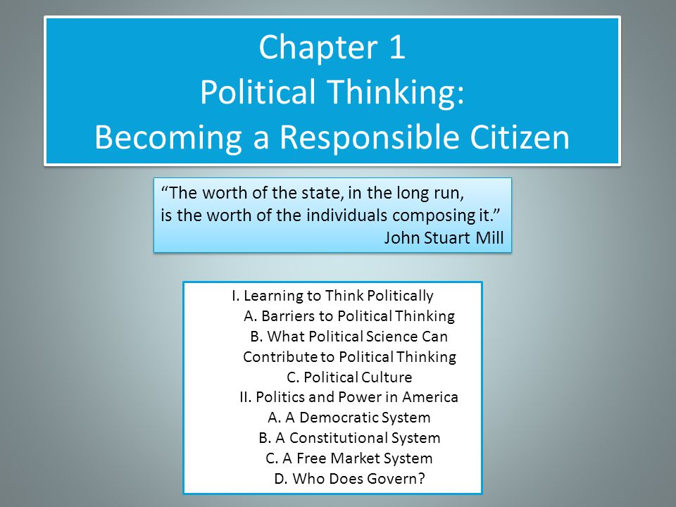 Chapter 1 Political Thinking: Becoming a Responsible Citizen I.