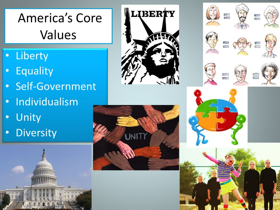 America's Core Values Liberty Equality Self-Government Individualism Unity Diversity Liberty Equality Self-Government Individualism Unity Diversity