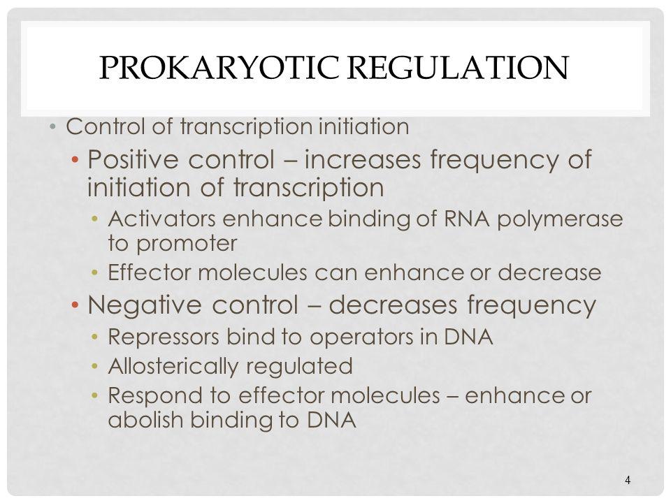 4 PROKARYOTIC REGULATION Control of transcription initiation Positive control – increases frequency of initiation of transcription Activators enhance
