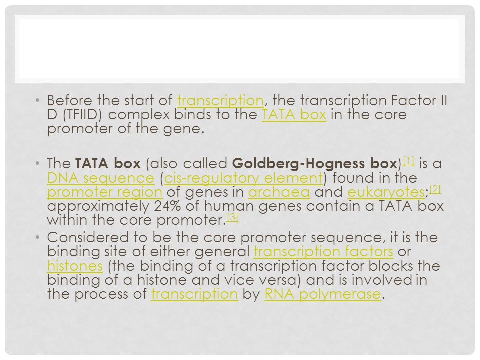 Before the start of transcription, the transcription Factor II D (TFIID) complex binds to the TATA box in the core promoter of the gene.transcriptionT