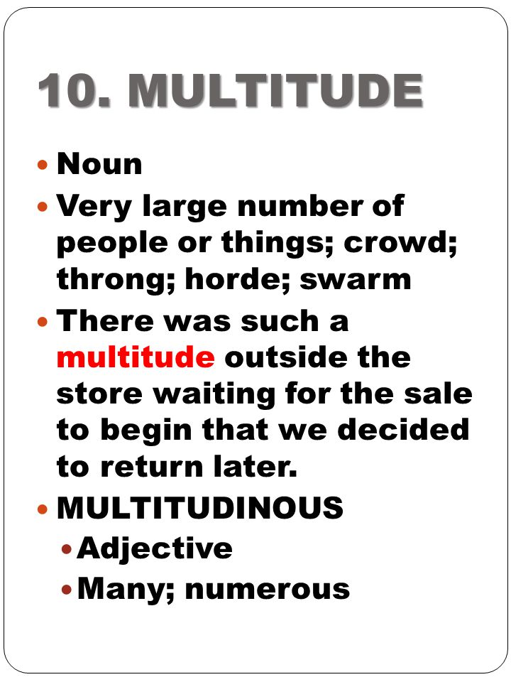 10. MULTITUDE Noun Very large number of people or things; crowd; throng; horde; swarm There was such a multitude outside the store waiting for the sal