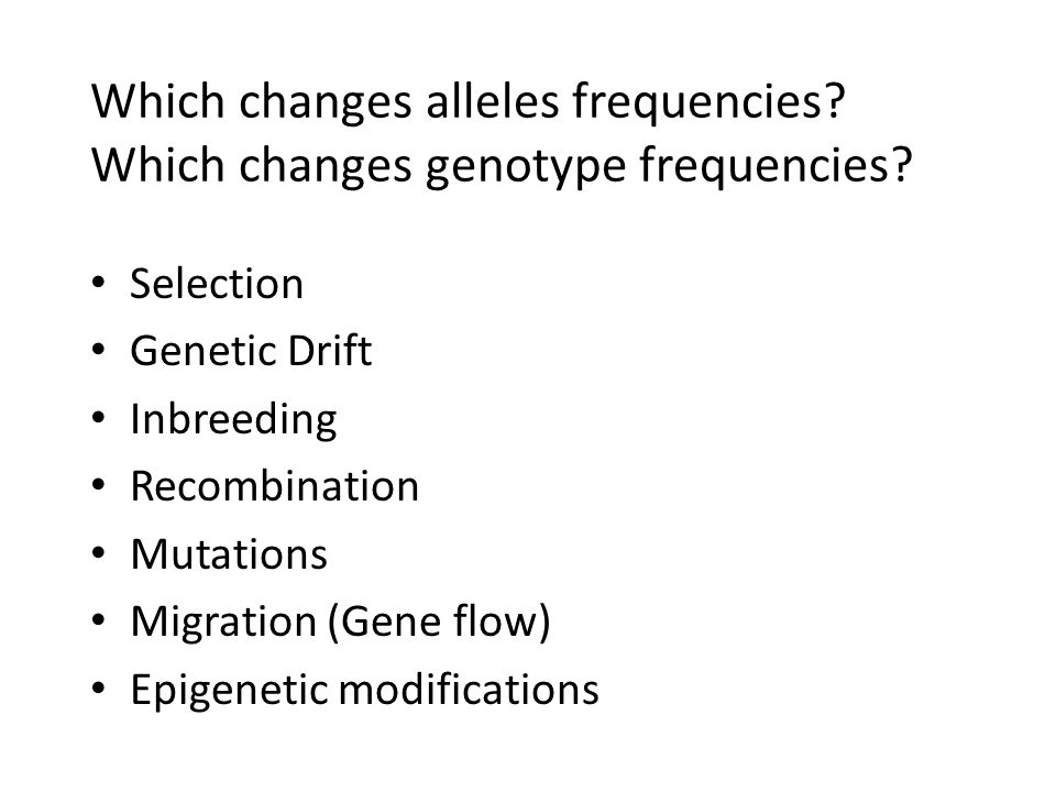 Which changes alleles frequencies? Which changes genotype frequencies? Selection Genetic Drift Inbreeding Recombination Mutations Migration (Gene flow