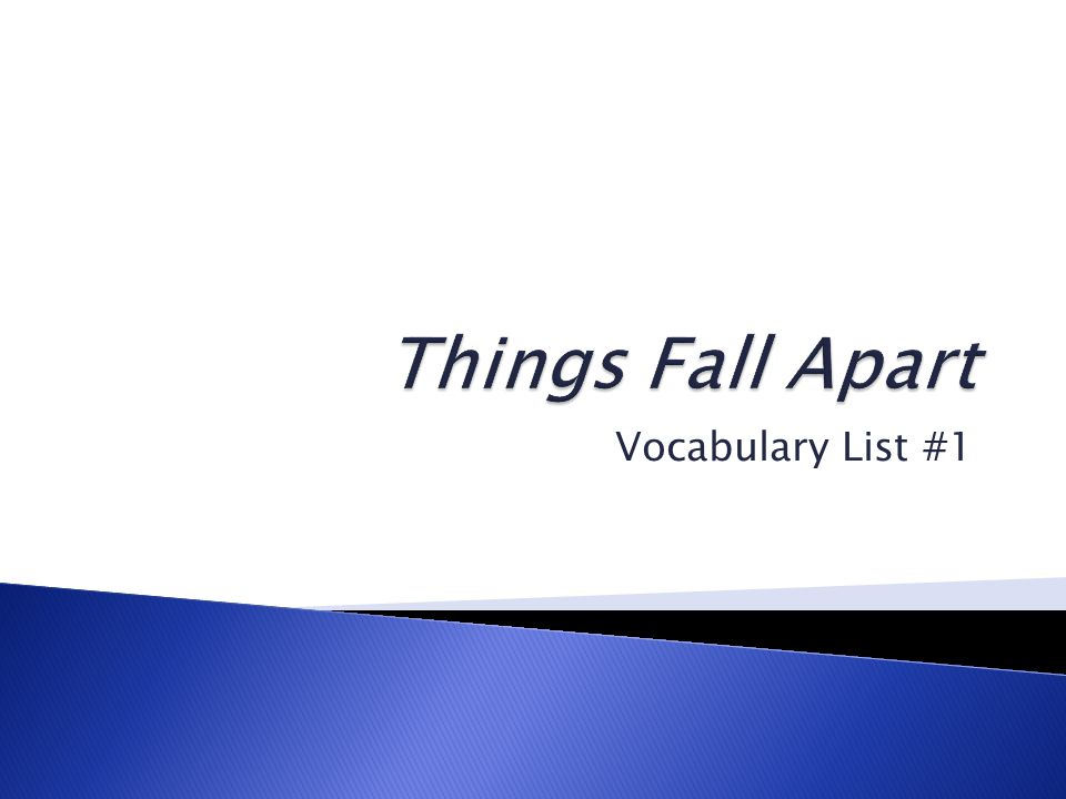 Vocabulary List #1