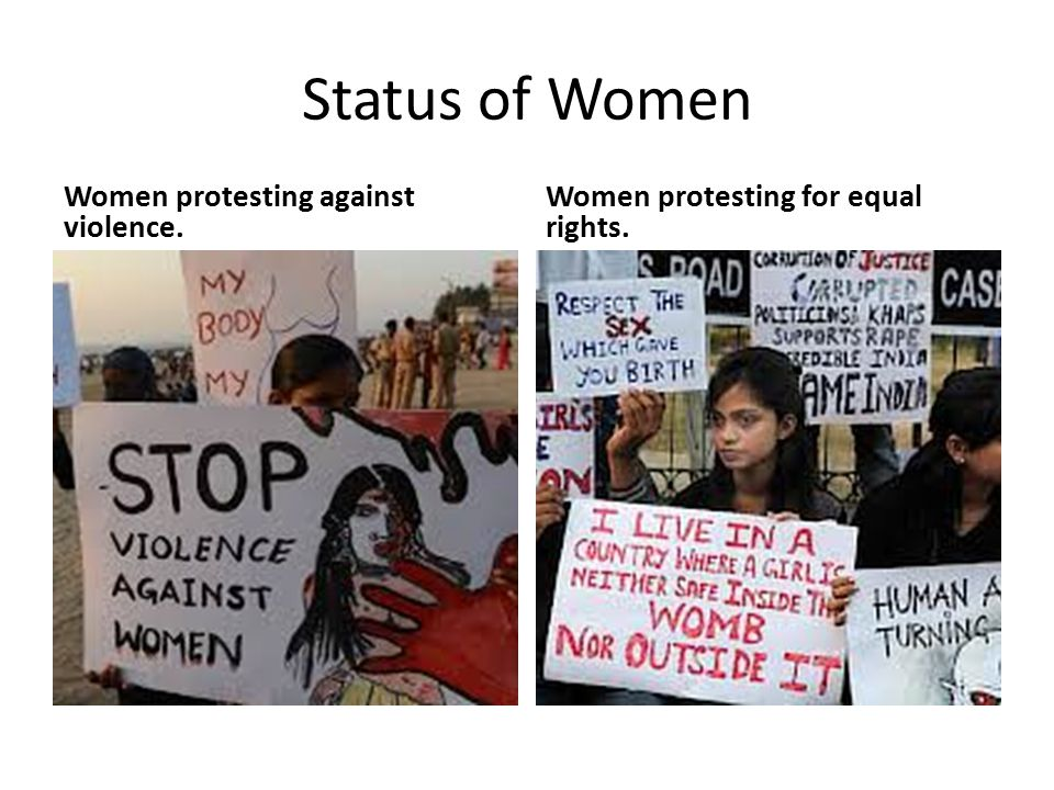 Status of Women Women protesting against violence. Women protesting for equal rights.
