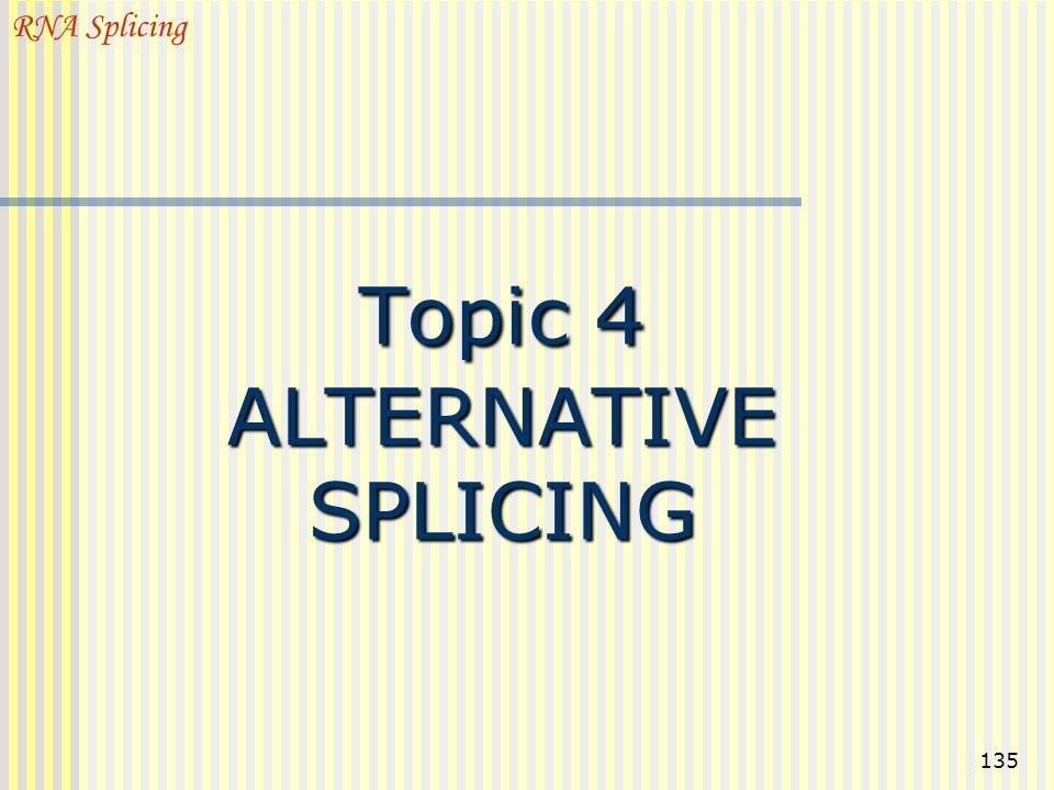135 Topic 4 ALTERNATIVE SPLICING RNA Splicing