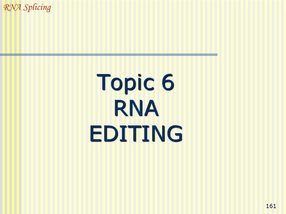161 Topic 6 RNA EDITING RNA Splicing