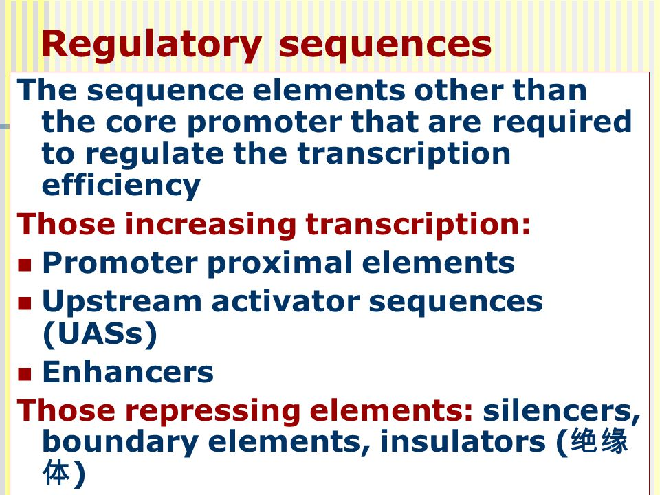 62 The sequence elements other than the core promoter that are required to regulate the transcription efficiency Those increasing transcription: Promo