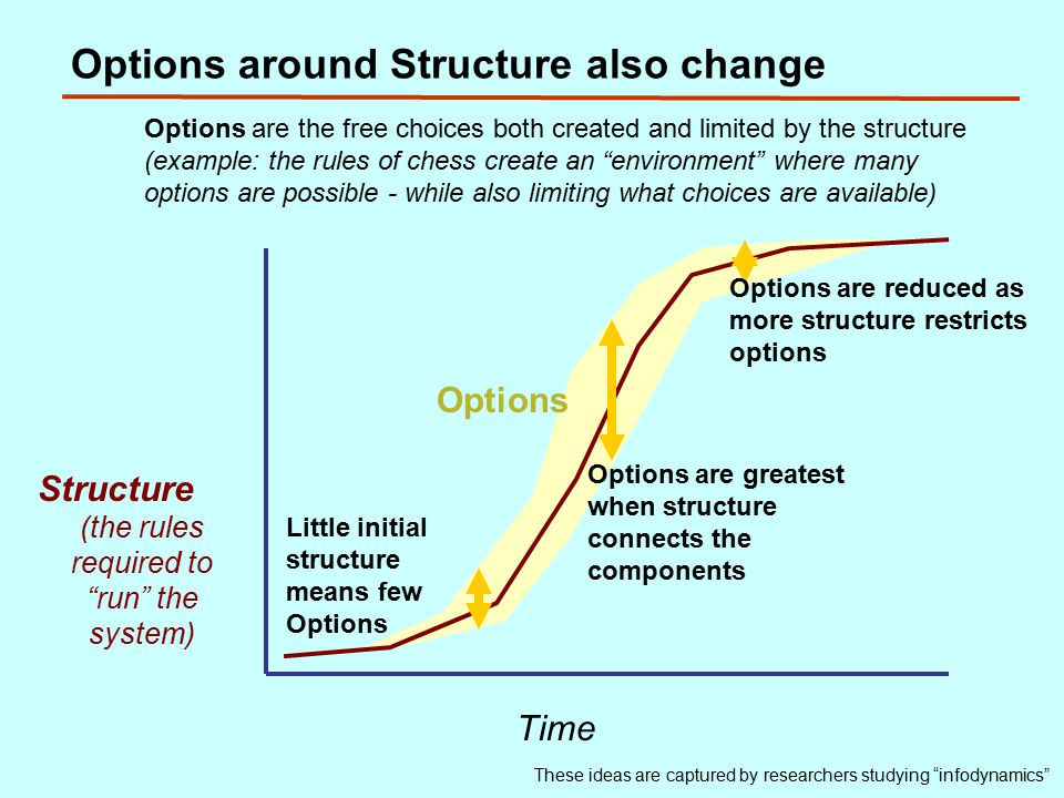 Options around Structure also change Structure (the rules required to run the system) Time Little initial structure means few Options Options are greatest when structure connects the components These ideas are captured by researchers studying infodynamics Options are the free choices both created and limited by the structure (example: the rules of chess create an environment where many options are possible - while also limiting what choices are available) Options Options are reduced as more structure restricts options