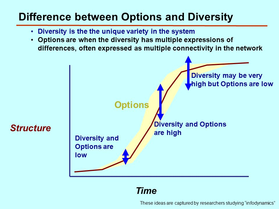 Difference between Options and Diversity Structure Time Diversity and Options are low Diversity and Options are high These ideas are captured by researchers studying infodynamics Diversity is the the unique variety in the system Options are when the diversity has multiple expressions of differences, often expressed as multiple connectivity in the network Options Diversity may be very high but Options are low