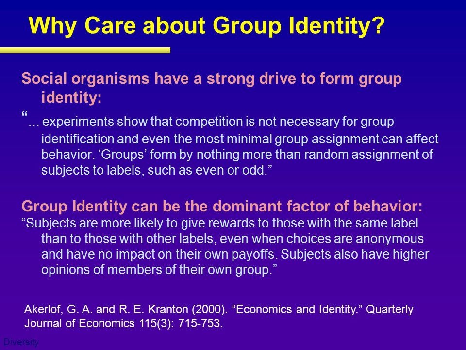 Diversity Why Care about Group Identity.