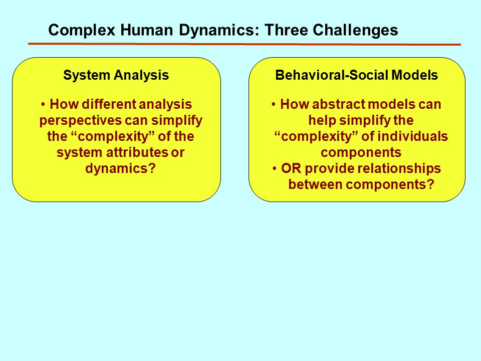 Complex Human Dynamics: Three Challenges System Analysis How different analysis perspectives can simplify the complexity of the system attributes or dynamics.