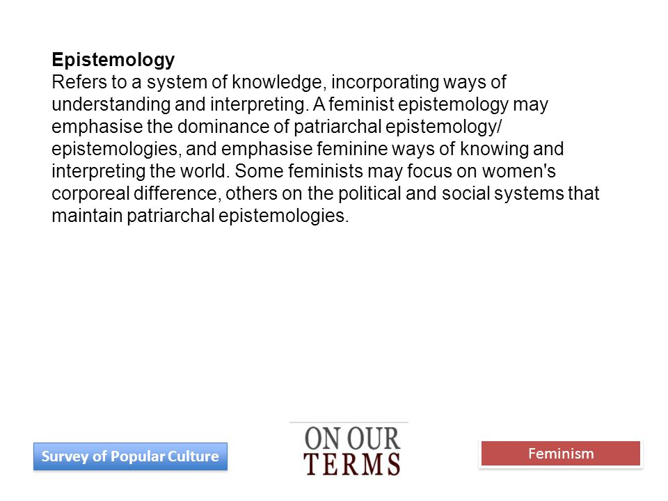 Epistemology Refers to a system of knowledge, incorporating ways of understanding and interpreting. A feminist epistemology may emphasise the dominanc