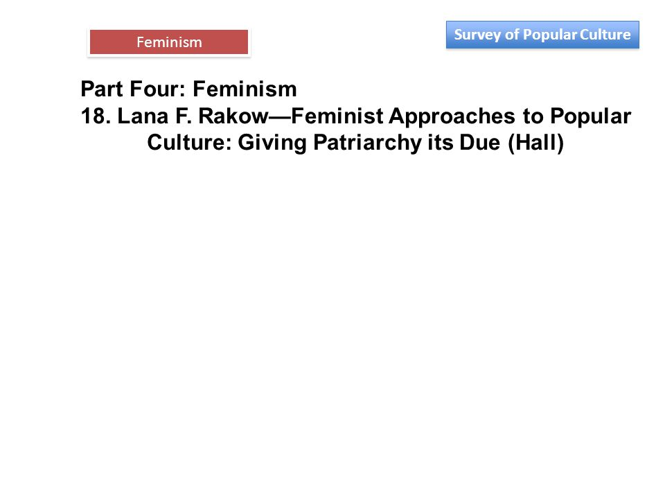 Part Four: Feminism 18. Lana F. Rakow—Feminist Approaches to Popular Culture: Giving Patriarchy its Due (Hall) Feminism Survey of Popular Culture