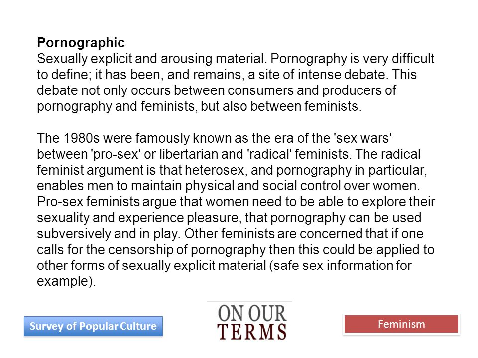 Pornographic Sexually explicit and arousing material. Pornography is very difficult to define; it has been, and remains, a site of intense debate. Thi