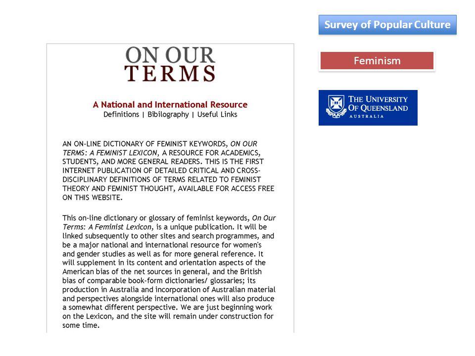 Feminism Survey of Popular Culture