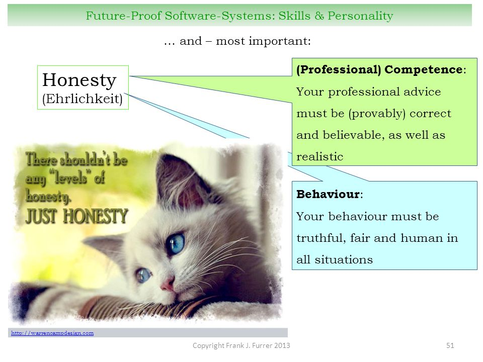 Copyright Frank J. Furrer 201351 Future-Proof Software-Systems: Skills & Personality … and – most important: Behaviour : Your behaviour must be truthf