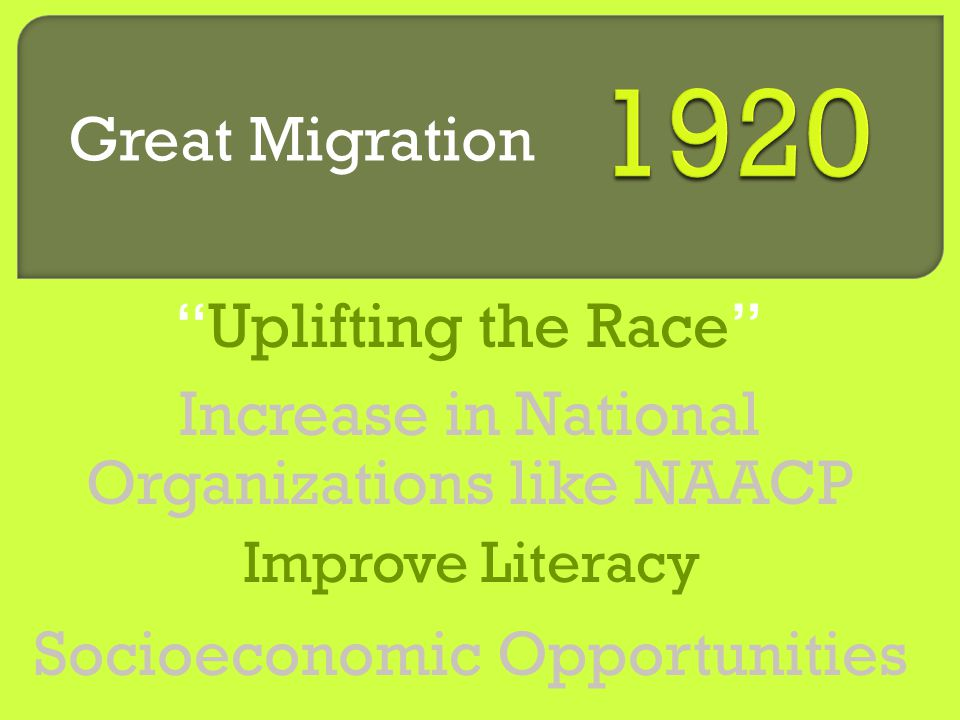 Socioeconomic Opportunities Increase in National Organizations like NAACP Improve Literacy Uplifting the Race Great Migration