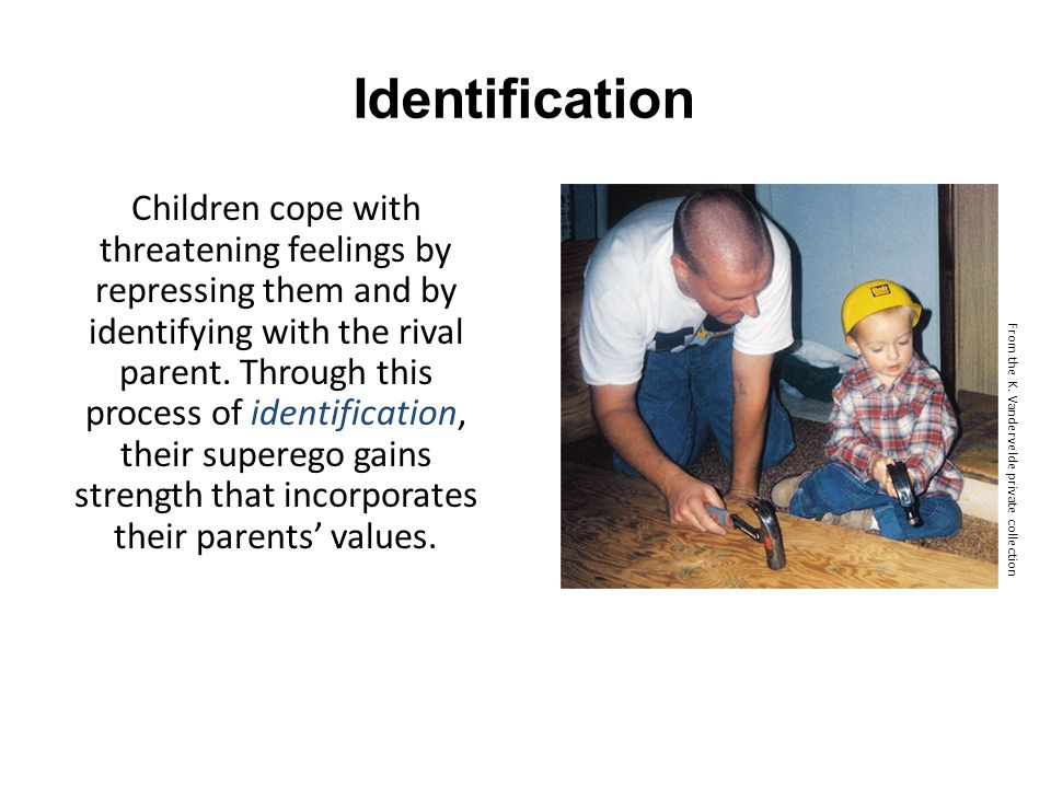 Identification Children cope with threatening feelings by repressing them and by identifying with the rival parent. Through this process of identifica