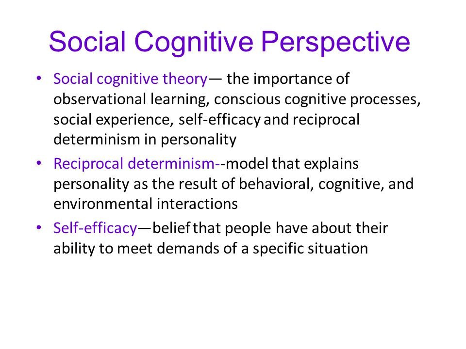 Social Cognitive Perspective Social cognitive theory— the importance of observational learning, conscious cognitive processes, social experience, self