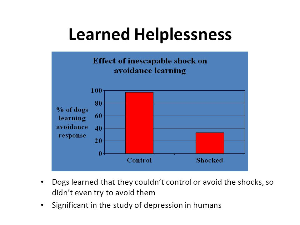 Learned Helplessness Dogs learned that they couldn't control or avoid the shocks, so didn't even try to avoid them Significant in the study of depress