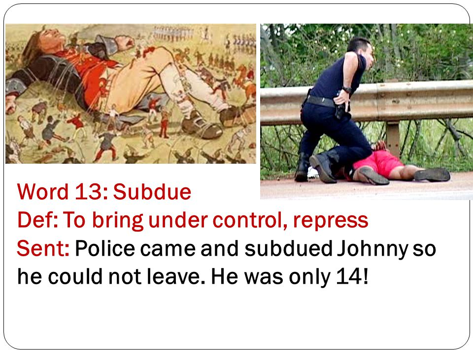 Word 13: Subdue Def: To bring under control, repress Sent: Police came and subdued Johnny so he could not leave.